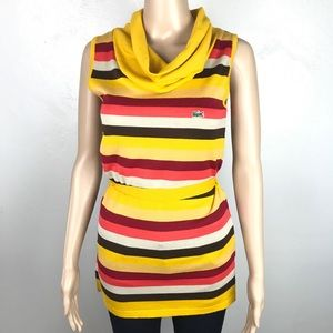 Lacoste yellow cowl neck striped knit top tunic
